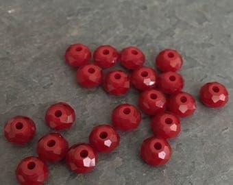 Faceted Ruby Quartz Rondelle Beads (20)