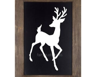 Reindeer Wall Decal Christmas Vinyl Sticker Deer Decal Reindeer Silhouette December Woodland Animal Forest North Pole Christmas Sign Decal