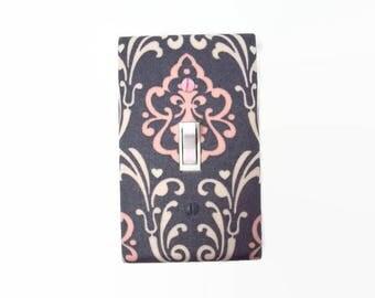 Damask Light Switch Cover - Pink Grey Damask Switch Plate - Gray Pink Damask Nursery Decor - Damask Outlet Covers - Damask Decor Pink Gray