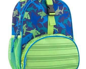 Personalized Stephen Joseph All Over Print Shark Small backpack