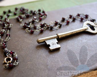 Skeleton Key and Garnet Necklace - vintage key, upcycled, garnets
