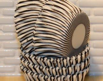 MINI Black Stripe Cupcake Liners (Qty 45)  Mini Black Stripe Baking Cups, Mini Black Cupcake Liners, Mini Black Baking Cups, Cupcake Liners