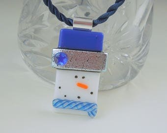 Dallas Cowboys - Snowman Jewerly - Christmas Ornament - Dichroic Fused Glass Pendant - Snowman Necklace - Christmas Jewelry X1667
