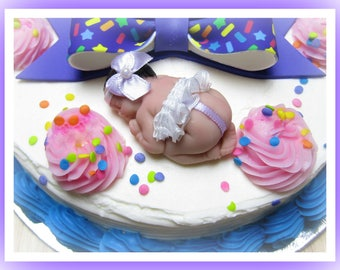 Cake Topper Dressed Polymer Clay  Sleeping Baby 2.5 inch