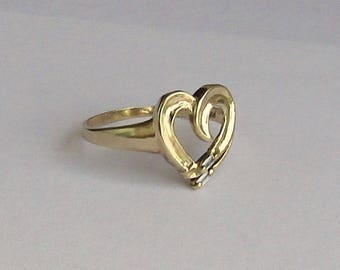 Romantic Heart Ring in solid 10K Y Gold with two small diamonds, size 6, free US first class shipping on vintage items