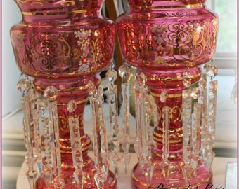 "stunning vintage cranberry lusters with gorgeous faceted crystal prisms and hand painted pink roses and scrolls ~ candle holders 14.5"" tall!"