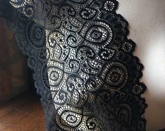 Black Stretch Lace  for Lingerie, Garments, Costumes STR 5016