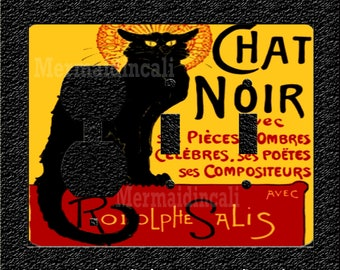 Chat Noir Black Cat Triple Light Switch Plate Covers Toggle/Rocker