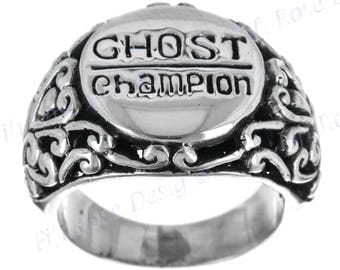 """Design """"ghost Champion"""" 925 Sterling Silver Sz 6.5 Ring"""