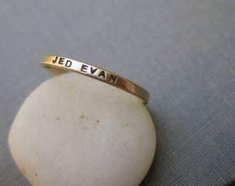 14k Solid Gold Personalized Ring - 2mm Wide, Mother's Ring, Promise Ring, Best Friend Ring, Wedding Ring