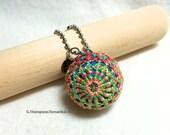 Teenie Temari Scissor/Bag Fob/Key Chain -  Amime, Seed Stitch; Blue, Green Coral