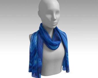Blue Rhapsody Chiffon Scarf / Wearable Original Art / Encaustic Painting on 100% Poly Chiffon  / Available in 6 Sizes / Made to Order