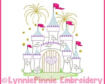 Fancy Castle with Fireworks ColorWork Sketch Machine Embroidery Design File INSTANT Download