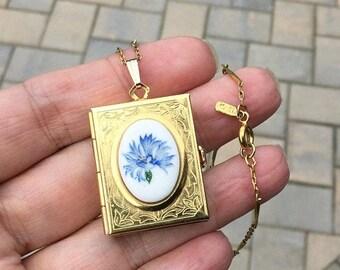 ON SALE - Vintage Unfolding 4 Panel Book Locket on Monet Goldtone Necklace - Ceramic Cabochon with Blue Cornflower