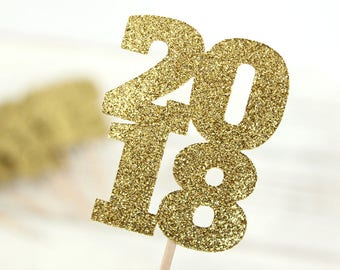 Happy New Year 2018 Cupcake Toppers - Set of 12 - glitter cupcake toppers