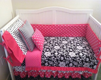 Baby Girl Crib Toddler Bedding Pink and Black Ruffled Floral and Polka Dots