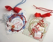 Christmas Gift Tags~Shabby Chic Deluxe Gift Tags~set of 2~Cottage Style Christmas gift tags~red~gold~blue~pink~gray~white~silver~green