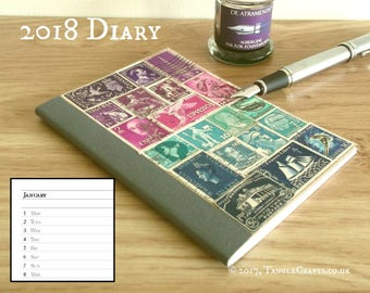 2018 Diary, Purple Blue Planner Notebook - Upcycled Stamps Agenda Book