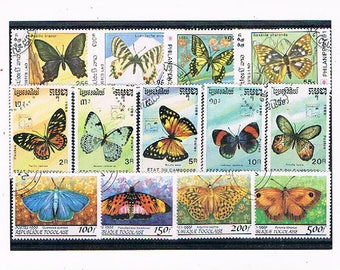 Exotic Butterflies - Postage Stamp Collection | vintage butterfly & moth stamp selection, thematic stamps | craft, card toppers, collage