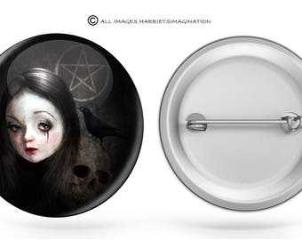 Button Badge | Goth Girl Badge | Pin Back Button | Gothic Button Badge - You Choose Size.