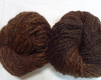 Handspun organic brown alpaca    yarn .  Organic yarn. Hand spun yarn. Brown alpaca  yarn.Fudge swirl ice-cream, 2nd generation.
