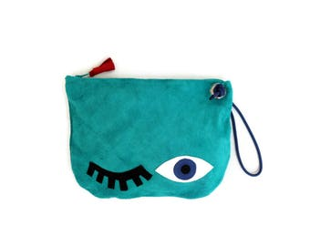 Wink Eye Suede Bag in Turquoise. Small Leather Bag. Large Suede Wallet. Womens Gift. Gift for Her. Bohemian Bag. Evil Eye Bag