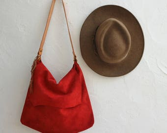 Large Suede Shoulder Bag Red. Leather Shopping Bag. Boho Tote Bag.  Womens Gift. Gift for Her. Bohemian Bag.  Bohemian Tote