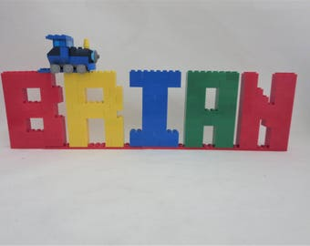 Colorful Lego® Name Sign -  LEGO® Bricks Kids Room Decor - Name Letters Made With Lego Bricks  With Train - Shelf Decor - Birthday Decor