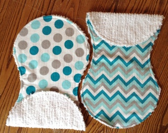 Flannel and Chenille Burp Cloths For Baby Polka Dots And Chevron, Turquoise, Aqua and Grey