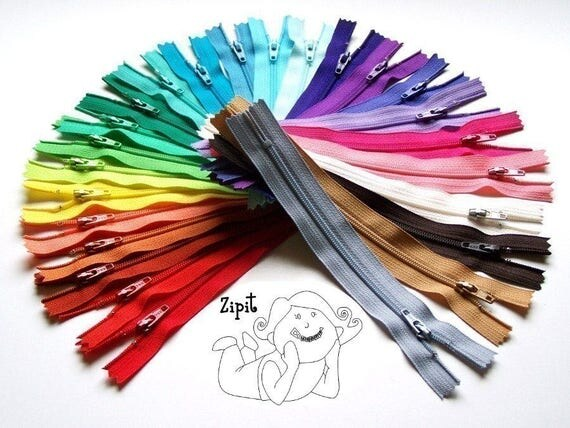 100 Assorted YKK Zippers- All purpse zips - Available in 3,4,5,6,7,8,9,10,12,14,16,18,20 and 22 Inches
