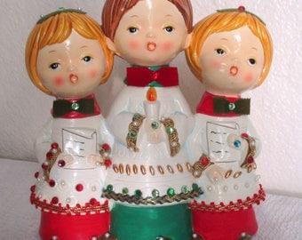 Vintage Group of Three Christmas Carolers Choir Figurines made in Japan