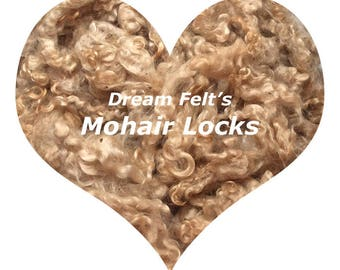 Dream Felt's Beautiful Mohair Locks Natural Golden Brown Blonde 1 oz  for Needle Felting, Wet Felting, Spinning, Doll Hair and more!