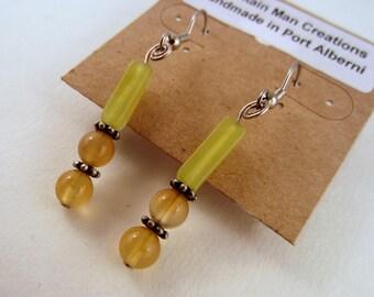 Gem stone  earrings serpentine with czech glass