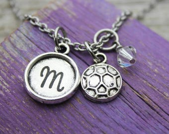 Personalized Soccer Initial Charm Necklace