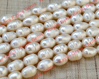 White Rice Fresh Water Pearl 8-10mm 1 strand 14.5 inch.