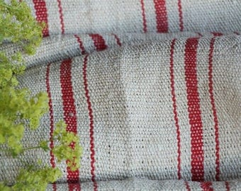 R 727: antique hemp linen roll CHERRY RED grainsack fabric 16.39 yards,wedding decor, lin, 23.62wide, upholstery project, decoration,