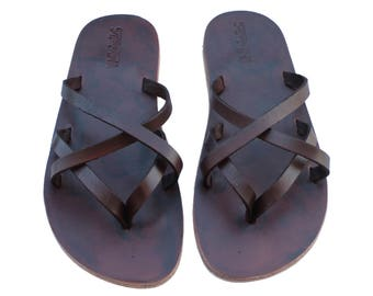 CLEARANCE SALE - Brown Mixin Leather Sandals - All Leather Sole  - Euro # 39 - Handmade Unisex Sandals, Genuine Leather, Sale