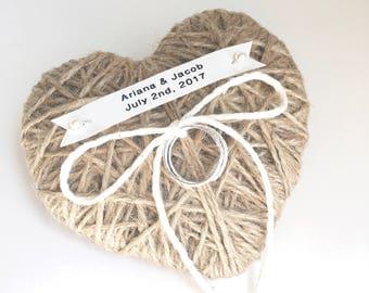 Wedding Ring Bearer Pillow -new 2017 design- reuse as Christmas ornament- choose ivory lace, ribbon, string-durable custom name tag-original