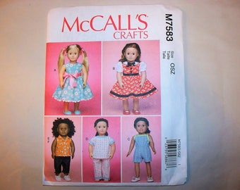 "New McCall's 18"" Doll Clothing Pattern, M7583 (Free US Shipping)"