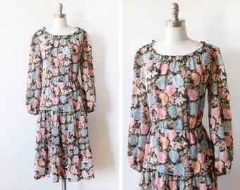 70s black floral dress, vintage 1980s dress, floral print boho dress, bohemian long sleeve, large l
