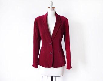 burgundy velvet blazer, vintage 1970s blazer, boho 70s blazer, medium large women's blazer
