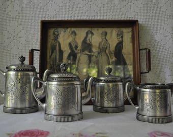 Proper Vintage Tea Set/Vintage Engraved Silver Plate/Tea Pot, Hot Water Pot, Creamer and Sugar