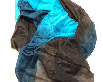 Turquoise, Teal and Black Silk Veil