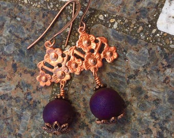 vintage copper findings with brilliant druzy round beads earrings copper