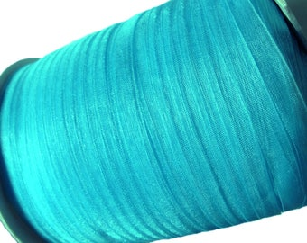 "Aqua Blue Organza Ribbon 1/4"" for gift packaging or crafting - 10 yards (30 feets)"