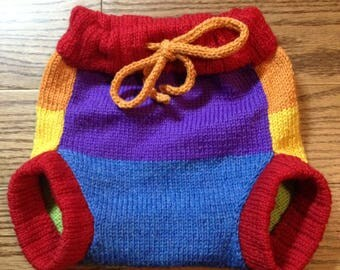 Diaper Cover Wool - Large Machine knit Wool Rainbow Soaker