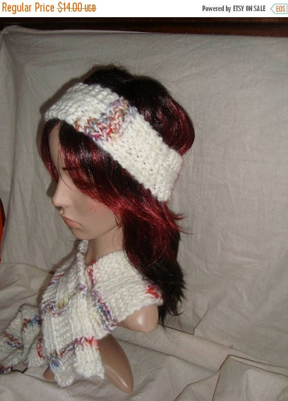 Christmas in July Kintted Handmade  Winter Scarf and matching Hat Head band  Set