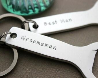 custom groomsman keychain - bottle opener keychain - beer opener - customized name - gift for him - wedding party gift - Best man gift