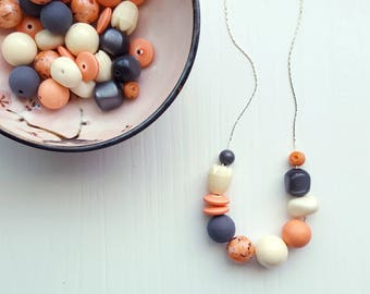 lazy morning necklace - vintage remixed lucite - apricot orange peach ivory grey gray soft colors