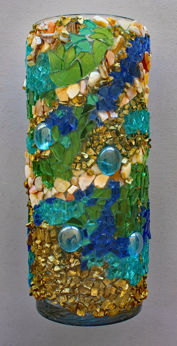 Tropical Mosaic Vase Made with Fire Glass and Mother of Pearl